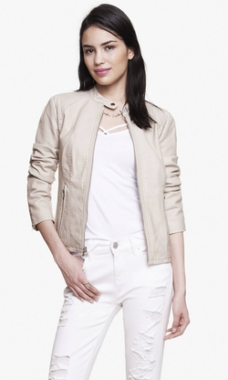 Double Peplum Leather Jacket by Express in Rosewood
