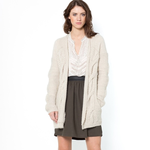 Long Cable Knit Cardigan by La Redoute in The Visit