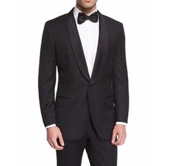 Satin Shawl Collar Textured Slim Tuxedo Jacket by Boss Hugo Boss in Empire