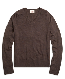 Merino Wool V-Neck Sweater by Brooks Brothers in New Girl