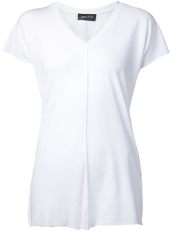 Raised Seam V-Neck T-Shirt by Andrea Ya'aqov in Rosewood