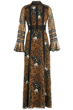 Lace Panel Printed Dress by Anna Sui in Empire