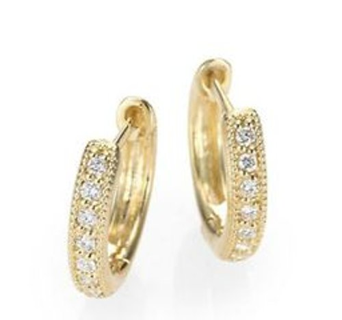 Diamond & 18K Yellow Gold Hoop Earrings by Jude Frances in The Boy Next Door