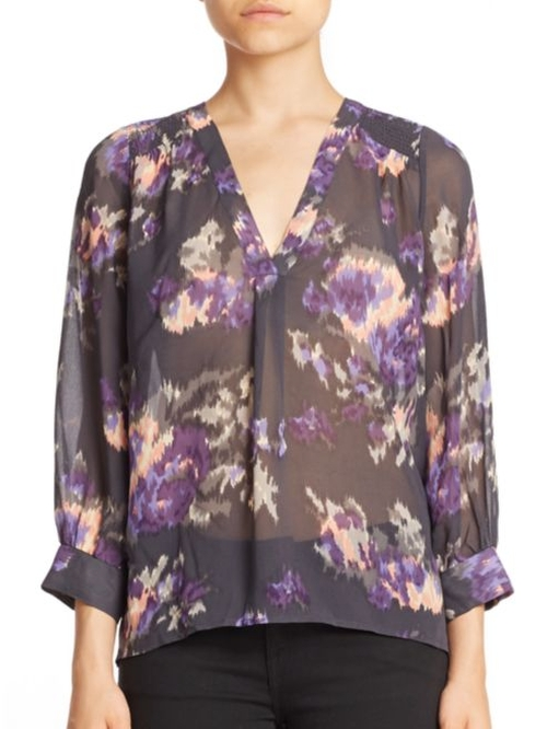 Aceline Floral Ikat Silk Blouse by Joie in The Bachelorette - Season 12 Looks