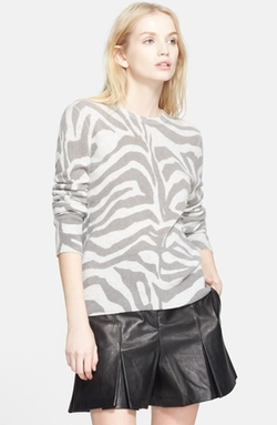 'Shane' Zebra Stripe Cashmere Sweater by Equipment in Black-ish