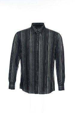 Men's Black Horizontal Striped Button Down Shirt by Zagiri in If I Stay