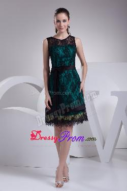 Dark Green and Black Lace Prom Dresses with Knee Length and Scoop by Dressy Prom in Vampire Academy