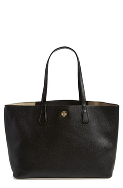 'Perry' Leather Tote Bag by Tory Burch in Quantico