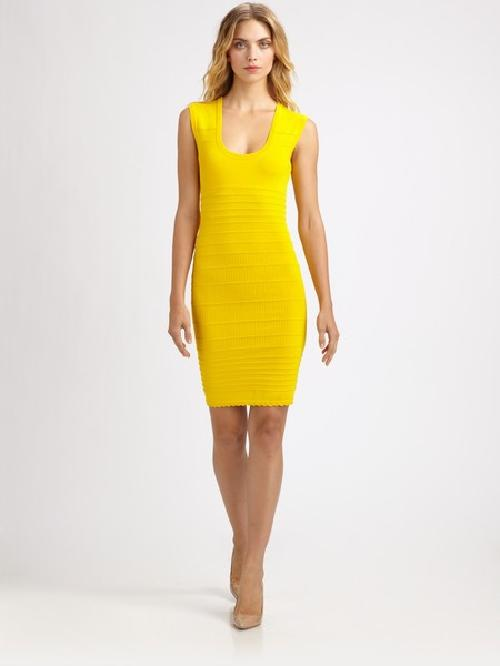 Yellow Techno Knit Dress by Yigal Azrouël in Walk of Shame