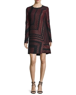 Long-Sleeve Lace-Inset Shift Dress by J. Mendel in The Good Wife