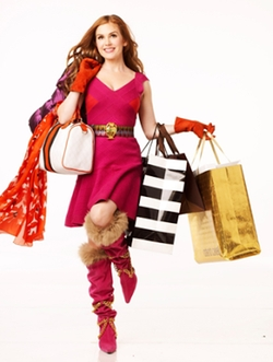 Pink Fur High Boots by Todd Oldham in Confessions of a Shopaholic