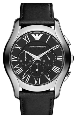 Round Chronograph Leather Strap Watch by Emporio Armani in Ashby