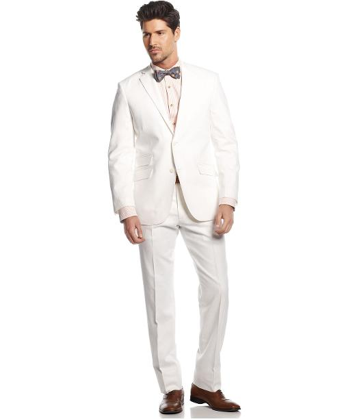 White Linen-Blend Suit Slim Fit by Perry Ellis in Jersey Boys