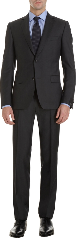 Notched Collar Two-Piece Suit by Z Zegna in Black Mass