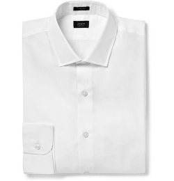 White Ludlow Cotton-Poplin Shirt by J.Crew in Fight Club