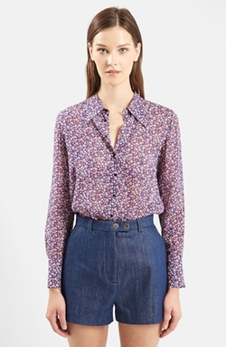 'Ottoline' Floral Print Long Sleeve Silk Shirt by Topshop Unique in The Big Bang Theory