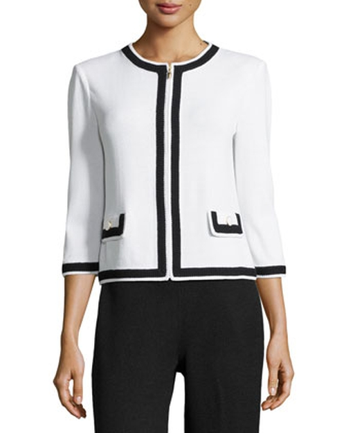 Contrast-Trim Zip-Front Jacket by St. John in Magic Mike XXL