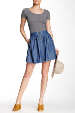 High Waist Button Front Chambray Skirt by Paper Crane in Fuller House