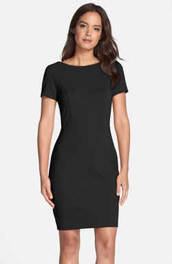 Cap Sleeve Embroidery Fitted Dress by Victoria Beckham in Suits