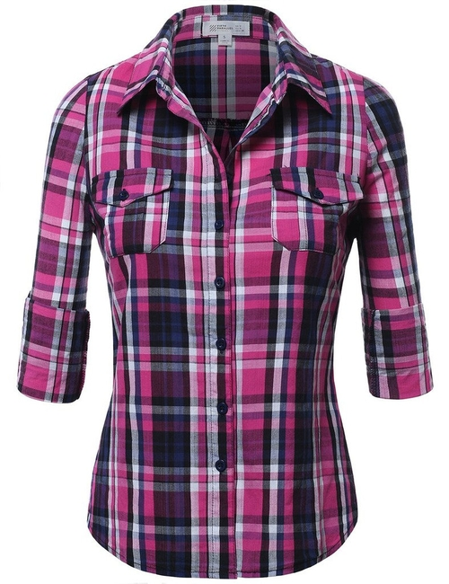 Womens Button Down Plaid Shirt by Fifth Parallel Threads in Barely Lethal
