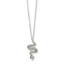 Rhodium Finishcz Black Eyes Snake Necklace by Fusion Cheryl M Collections in Barely Lethal