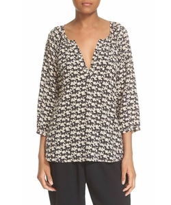'Coralee' Horse Print Silk Peasant Blouse by Joie in Modern Family