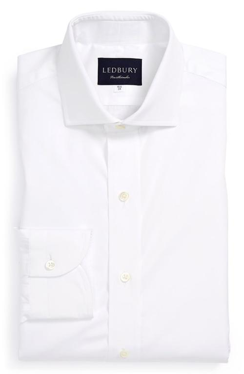 Classic Fit Solid Dress Shirt by Ledbury in Unbroken