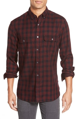 'Route' Trim Fit Long Sleeve Plaid Sport Shirt by French Connection in Black-ish