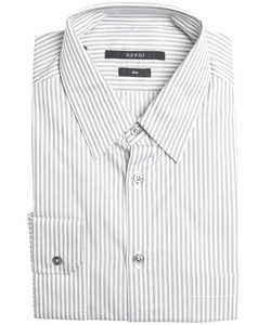 Grey And White Striped Cotton Point Collar Dress Shirt by Gucci in Suits