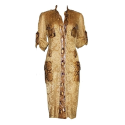 Python Snakeskin Lace Tortoise Dress by Dolce & Gabbana in Empire
