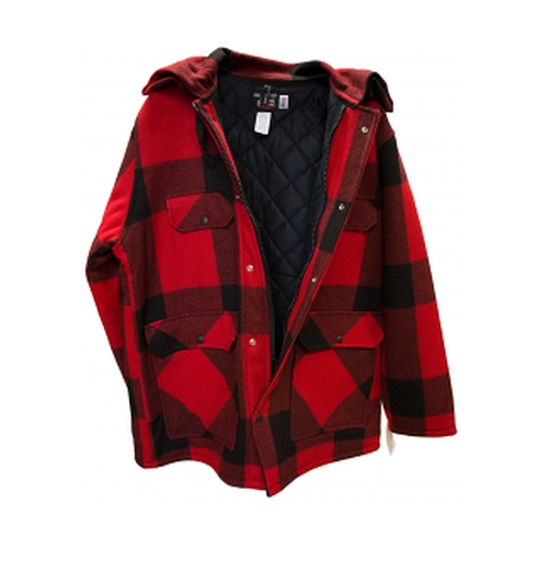 Men's Johnson Wool Checkered Red Hunting Coat by H.N. Williams Store in Why Him?