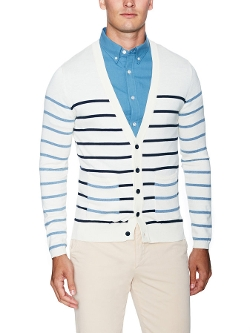 Blue Laszlo Multi Stripe Cardigan by Shipley & Halmos in Entourage