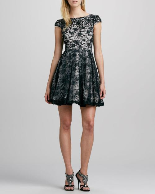 Aubree Crystal-Embellished Lace Dress by Alice + Olivia in Yves Saint Laurent