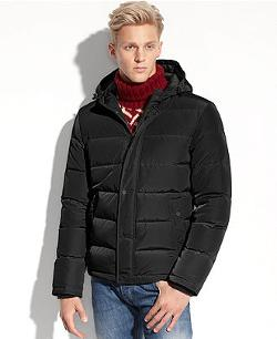 Hooded Down Performance Puffer Jacket by Guess Coat in Prisoners