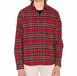 Double Brush Flannel Button Down Shirt by Stussy in Animal Kingdom