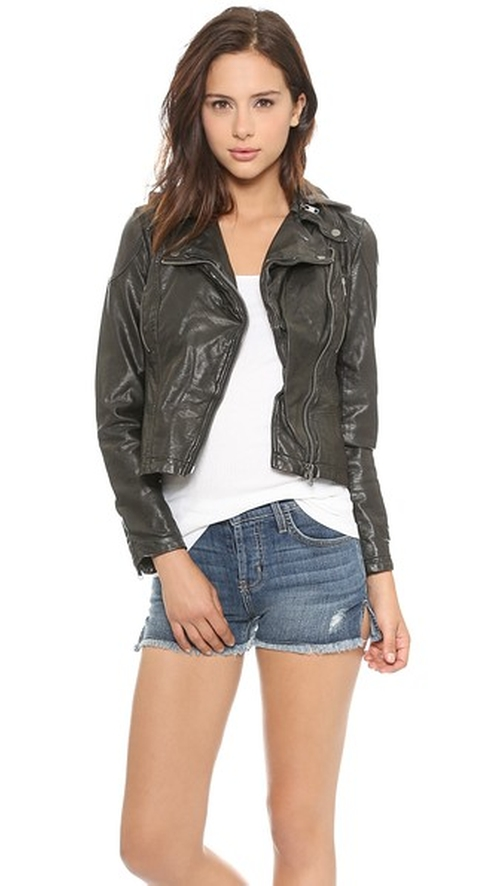 Vegan Leather Hooded Jacket by Free People in Pretty Little Liars - Season 6 Episode 13