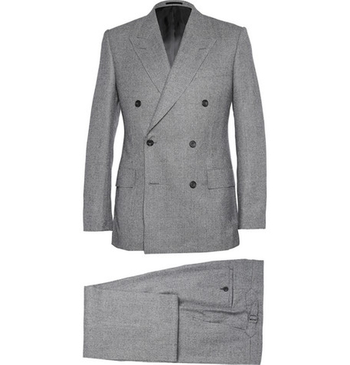 Grey Double-Breasted Prince Of Wales Check Suit by Kingsman for Mr. Porter in Kingsman: The Secret Service