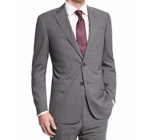 G-Line Plaid-Windowpane Wool Suit by Armani Collezioni in Free Fire