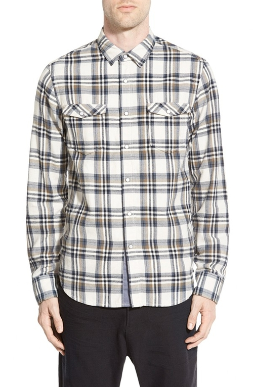 Plaid Twill Woven Shirt by Howe in Nashville - Season 4 Episode 5