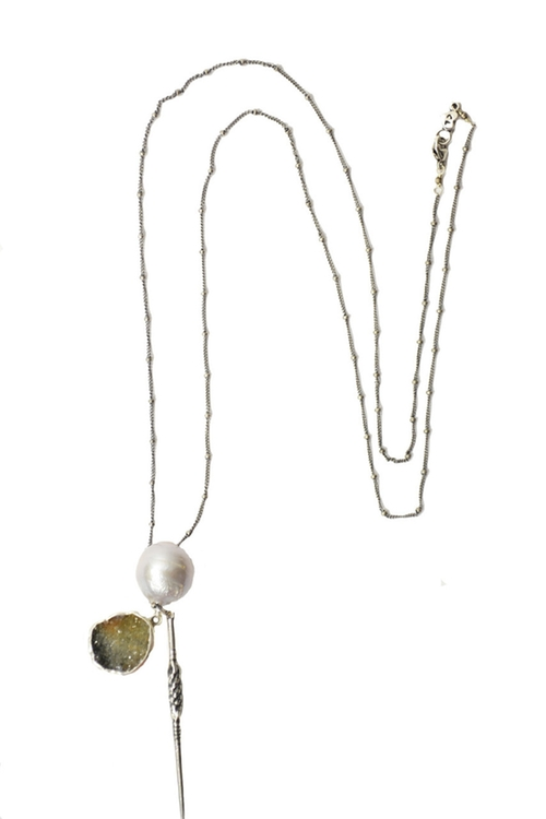 Gray Pearl Charm Silver Necklace by Chan Luu in Arrow - Season 4 Episode 5