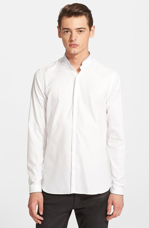 Fitted Band Collar Dress Shirt by The Kooples in Unbroken
