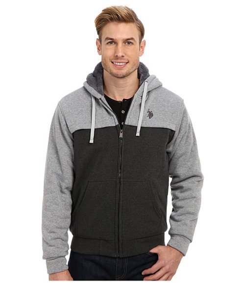 Sherpa Lined Color Block Full Zip Hoodie by U.S. Polo Assn. in Adult Beginners