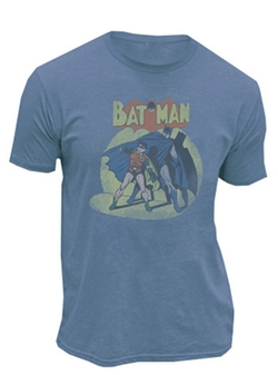 Batman & Robin In The Spotlight Slate Blue Mens T-Shirt by TV Store Online in The Big Bang Theory