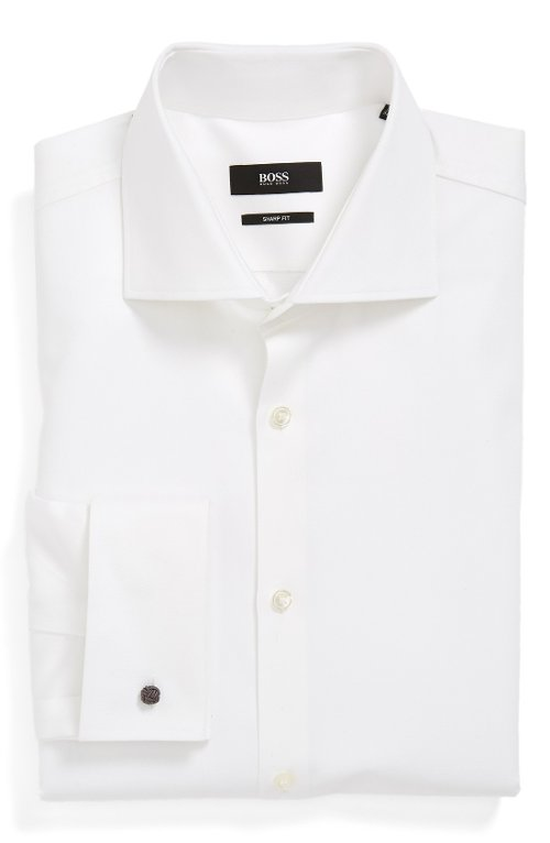 Sharp Fit French Cuff Dress Shirt by Boss Hugo Boss in Blackhat