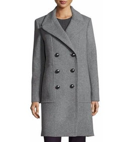 Shayla Double-Breasted Wool-Blend Coat by Elie Tahari in Once Upon a Time