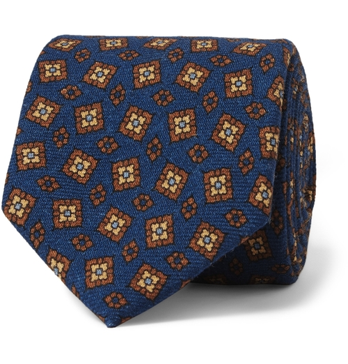 Printed Wool Tie by Drake's in Elf