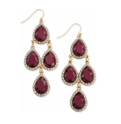 Wine Stone and Pavé Chandelier Earrings by INC International Concepts in Pretty Little Liars