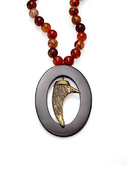 Agate & Black Horn Pendant Necklace by Nest in Addicted