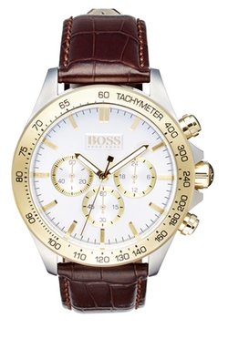'Ikon' Chronograph Leather Strap Watch by Boss in The Proposal