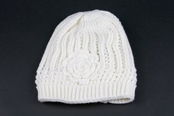 Winter Knit Flower Beanie by Pop Fashionwear in Clueless